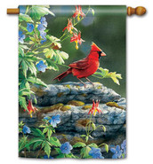 "Cardinal Perch House Flag - 28"" x 40"""