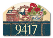 Patriotic Yard Design Address Sign