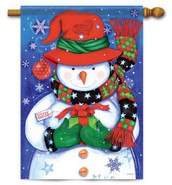 Snowman & Gift Decorative House Flag