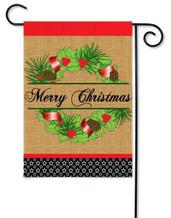 Burlap applique Christmas garden flag