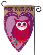 "Whoo Loves You Burlap Valentine Garden Flag - 12.5"" x 18"" - Evergreen - 2 Sided Message"