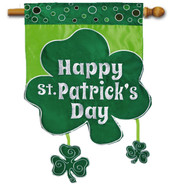 Applique St. Patrick's Day house flag - Evergreen