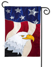Applique Patriotic Garden Flag