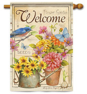 "Welcome Flowers House Flag - 28"" x 40"" - 2 Sided Message"