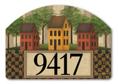 "Saltbox Houses Yard DeSign Address Sign - 14"" x 10"""