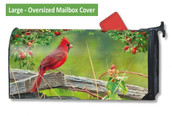 LARGE Oversized Magnetic Mailbox Cover - Cardinal Lookout