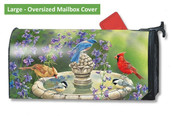 LARGE Oversized magnetic mailbox cover - Birdbath Gathering