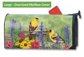 LARGE Oversized magnetic mailbox cover - Garden Finches