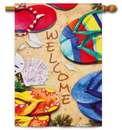 Summer Flip Flop House Flag - Evergreen