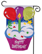 Applique birthday garden flag