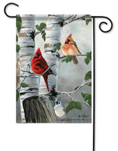 Outdoor Garden Flag Cardinals & Titmouse