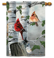 Outdoor House Flag Cardinals & Titmouse