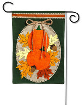 Burlap Garden Flag Pumpkin Duo