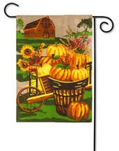 """Pumpkin Farm Garden Flag - 2 Sided Message - 12.5"""" x 18"""" - Evergreen"""
