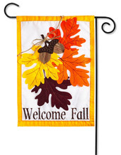 "Autumn Leaves Applique Garden Flag - 2 Sided Message - 12.5"" x 18"" - Evergreen"