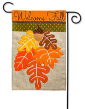 "Fall Leaves Burlap Garden Flag - 2 Sided Message - 12.5"" x 18"" - Evergreen"