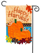 "Happy Harvest Applique Garden Flag - 2 Sided Message - 12.5"" x 18"" - Evergreen"
