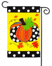 Evergreen Pumpkin Applique Garden Flag
