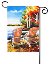 "Fall Lake Garden Flag - 2 Sided Message - 12.5"" x 18"" - Evergreen"