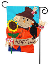 "Scarecrow Applique Garden Flag - 2 Sided Message - 12.5"" x 18"" - Evergreen"