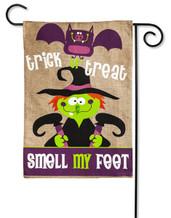"Smell My Feet Burlap Garden Flag - 2 Sided Message - 12.5"" x 18"" - Evergreen"
