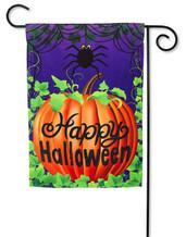 """Halloween Spider Garden Flag - 2 Sided Message - 12.5"""" x 18"""" - Evergreen"""