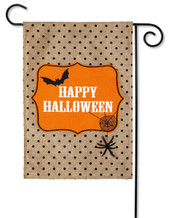 "Happy Halloween Burlap Garden Flag - 2 Sided Message - 12.5"" x 18"" - Evergreen"
