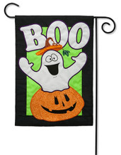 "BOO! Ghost Applique Garden Flag - 2 Sided Message - 12.5"" x 18"" - Evergreen"