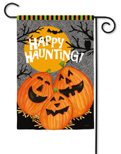 "Happy Haunting Jack Garden Flag - 2 Sided Message - 12.5"" x 18"" - Evergreen (G6597)"