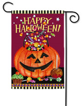 "Smiling Pumkin Pail Garden Flag - 2 Sided Message - 12.5"" x 18"" - Evergreen (G6598)"