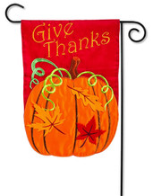 "Give Thanks Applique Garden Flag - 2 Sided Message - 12.5"" x 18"" - Evergreen"