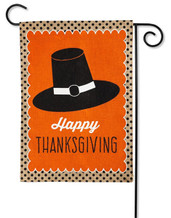 "Happy Thanksgiving Burlap Garden Flag - 2 Sided Message - 12.5"" x 18"" - Evergreen"