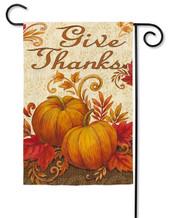 """Give Thanks Pumpkins Garden Flag - 2 Sided Message - 12.5"""" x 18"""" - Evergreen (G6605)"""