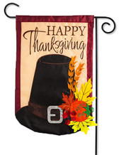 "Thanksgiving Pilgrim Hat Applique Garden Flag - 2 Sided Message - 12.5"" x 18"" - Evergreen"