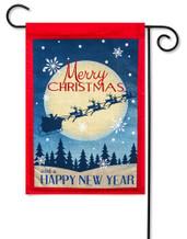 Burlap Garden Flag Merry Christmas Happy New Year