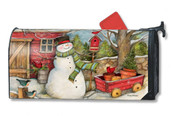 Mailwraps Red Barn Snowman Magnetic Mailbox Cover