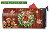Mailwraps Cozy Cabin Wreath LARGE Magnetic Mailbox Cover