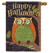 Outdoor Halloween Owl House Flag