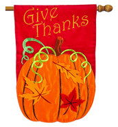 Applique House Flag Give Thanks