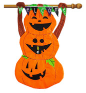 Evergreen Welcome Pumpkin Totem Applique House Flag