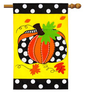 Applique House Flag Evergreen Pumpkin