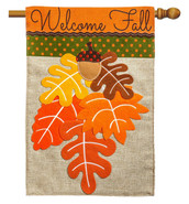 Evergreen Fall Leaves Burlap House Flag
