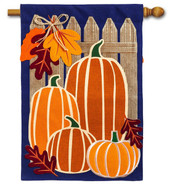 "Autumn Pumpkin Group Burlap House Flag - 28"" x 44"" - Evergreen"