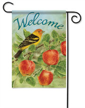 Apples & Tanager Outdoor Garden Flag