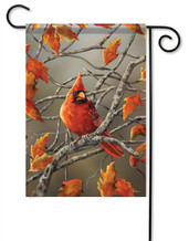 Autumn Leaves Cardinal Decorative Garden Flag