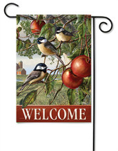 Chickadees And Apple Branch Decorative Garden Flag