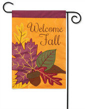 Fall Leaves Deluxe Applique Garden Flag