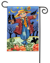 BreezeArt Outdoor Garden Flag Moonlight Scarecrow