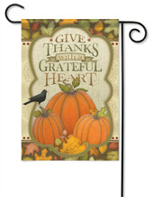 With A Grateful Heart Decorative Garden Flag