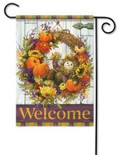 Scarecrow Wreath Fall Garden Flag